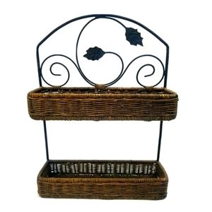 Metal and Wicker 2 Tier Basket Shelf Kitchen Decor